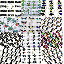 Wholesale Jewelry Lots 10pcs Stainless steel Change color Emotional mood rings C