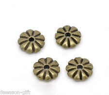 Wholesale Lots Bronze Tone Flower Spacer Beads Findings 7x2mm