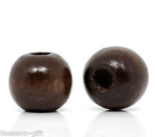 Wholesale Lots Coffee Dyed Round Wood Spacer Beads 10x9mm