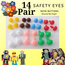 14 PAIR Safety Eyes Solid Colors 6mm or 12mm  Crochet Crafts Sewing RPE-1