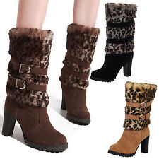 Tata party Womens Pump Leopard Mid Calf high Heel Boots Winter furry Shoes Size