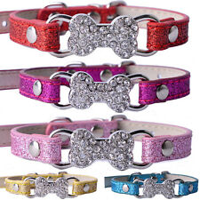 Dog Collar Bling Rhinestone PU Leather Adjustable Collar For Dogs Pet Supplies