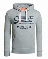 New Mens Superdry Industries Entry Hoodie Grey Marl