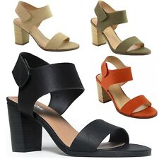 Soda Women's Peep Toe Stacked High Heel Ankle Strap Sandals