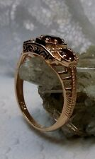 Natural Red Garnet 14K Rose Gold Filigree Edwardian Ring Size {Made To Order}