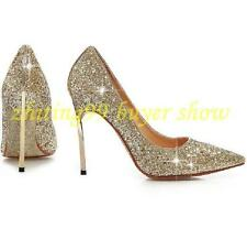 Womens Glitter Sequins Metal High Heels Mary Janes Pointed Toe Pumps Party Shoes