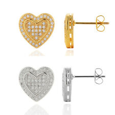 People Vintage Heart Inlay Rhinestone White/Yellow Gold Filled Stud Earrings