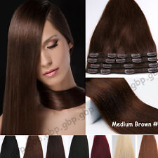 8PCS Full Head Clip in 100% Remy Human Hair Extensions Black Brown Any Color A53
