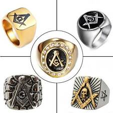 Masonic Freemason Men Rings Vintage Stainless Steel Ring Jewelry Band Goth Biker