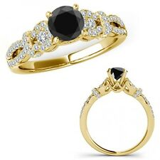 1.75 Ct Black Diamond Infinity Crossover Three Stone Ring Band 14K Yellow Gold