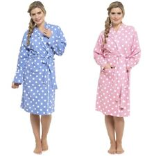 Ladies Foxbury Warm Cotton Spotted Waffle Textured Wrap Bathrobe Dressing Gown