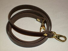 """1/2"""" DARK BROWN LEATHER SHOULDER BAG REPLACEMENT STRAP GOLD FITTINGS"""