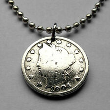 "USA 5 cent Lady Liberty Head ""V"" Nickel  coin pendant American necklace n001239b"
