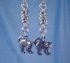 Black Magick Cats Stainless Steel Chainmaille Women's Charmed Dangle Earrings