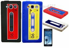 FOR SAMSUNG GALAXY S3 WHITE CASSETTE TAPE SOFT SILICONE CASE COVER BLACK RED