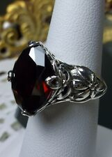 7ct Marquise *Garnet* Sterling Silver Floral Filigree Ring Size: {Made To Order}