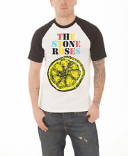 The Stone Roses T Shirt Lemon Multicolour logo new Official Mens White Raglan