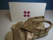 NIB Naturalizer Tan Metallic Thick Strap Sandal Buckle at Ankle Comfy! Org $59