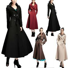 Mac Full Length Vintage Pleated Pocket Long Trench Coat Belted Jacket sz 14