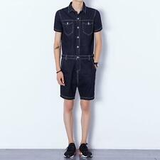 Mens Summer Casual Jumpsuits Short Sleeve Denim Short Pant Rompers Straight bp@w