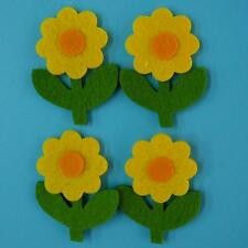 4 Sunflower Leaf Floral Nature Sew on Embroidered Badge Patch Craft Cute Motif