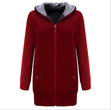 M--4XL Women's Inside the fleece thickening hooded Leisure Cardigan Sweater coat