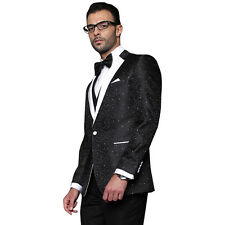 Black Modern Fit 1 Button Swirls Sharkskin Bellagio Tuxedo Suit by Statement