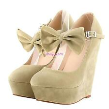 Women's lady Wedge Platform High Heel Suede Cute Bow Buckle Sandals Shoes Size