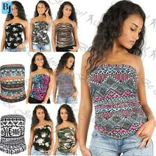 Womens Strapless Skull Aztec Boobtube Bandeau Ladies Crop Side Ruched Bralet Top