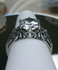 3ct White Gem Sterling Silver Victorian Crown Filigree Ring Size {Made To Order}