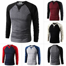 Mens Casual Shirt Slim Fit Crew Neck Long Sleeve T-shirt Muscle Tee Tops M - 2XL