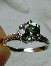 Victorian Wedding Real Mystic Topaz Sterling Silver Filigree Ring (Made/Custom)