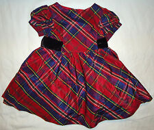 Gymboree NWT Holiday Celebrations Red Silk Plaid Party Dress 18-24 $52