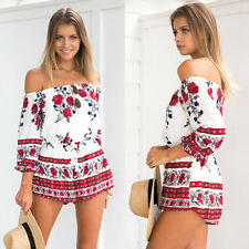 Fashion Women Summer Casual Sexy Strapless Off Shoulder Jumpsuit Romper Shorts