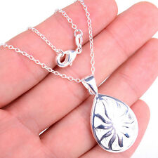 Superb Solid 925 Sterling Silver Hollow Sun Pendant+ Chain Necklace Jewelry H621