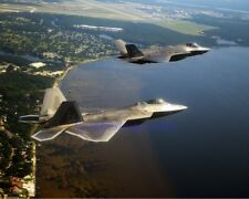 F-22A RAPTOR WITH F-35A LIGHTNING II FIGHTER JETS US AIR FORCE MILITARY PHOTO