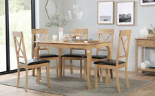 Clarendon & Kendal Oak Dining Table and 4 6 Chairs Set (Brown Seat Pad)