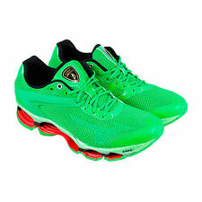 Mizuno Lamborghini Wave Tenjin Mens Green Mesh Athletic Lace Up Running Shoes