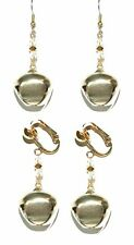 BRIGHT GOLD JINGLE BELL CHRISTMAS PIERCED or CLIP ON DANGLE EARRINGS (H211)