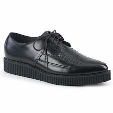 Demonia Creeper-712 goth gothic pointy black leather shoes creepers men's 4-12