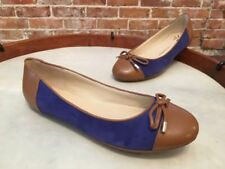 Isaac Mizrahi Fancy Blue Suede Captoe Ballet Flats NEW