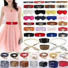 Women Lady Stretch Buckle Waist Belt Bow Wide Leather Elastic Corset Waistband A