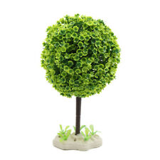 Plastic Tree Aquarium Fishbowl Decor Water Landscape Ornament w Ceramic Base