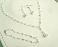 DESIGNER PEARL AND CLEAR CRYSTAL BRIDAL JEWELLERY NECKLACE BRACELET EARRINGS SET