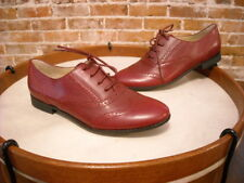 Isaac Mizrahi Farah Burgundy Red Leather Oxford Flats NEW