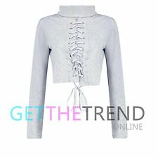 Womens Lace Up Top Ladies High Neck Casual Dress Long Sleeve Crop Sweatshirt New