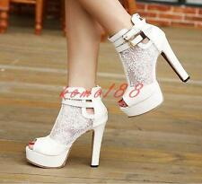 Block High Heels Womens Platform Lace peep toe Sandals Shoes zip up Ankle Boots