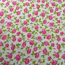 By Mary Rose, Perfect Pink Roses on White, Cotton Fabric, Per 1/2 Yd or Per Yd