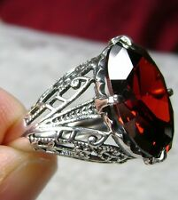 10ct *Red Garnet* Sterling Silver Filigree 1930's Art Deco Ring [Made To Order]