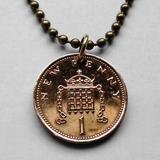 UK Great Britain Penny coin pendant British crowned portcullis necklace n000883